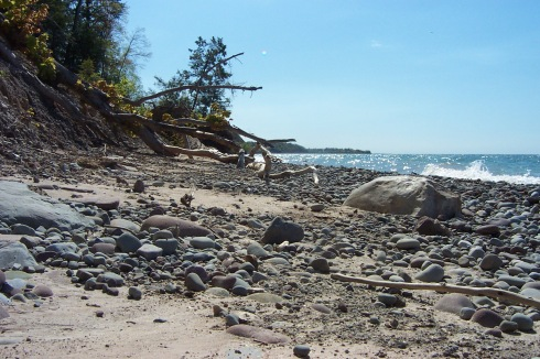 Beaches along this part of Lake Ontario are made of sand, clay and brightly colored pebbles of great variety