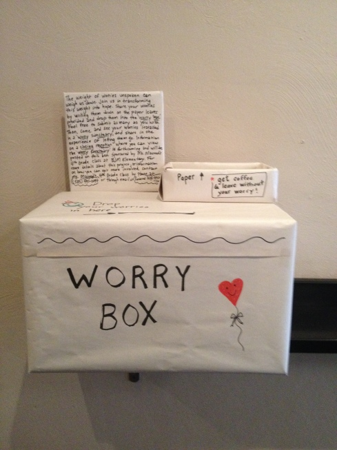 Created by a class of fourth graders in Ithaca, NY, this worry box encourages coffee shop patrons to leave their worries behind.
